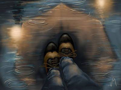 Rain Digital Art - Reflection by Veronica Minozzi