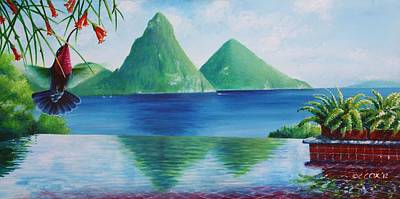 Heliconia Painting - Reflections At Jade - Purple-throated Carib And Coral Plant by Christopher Cox