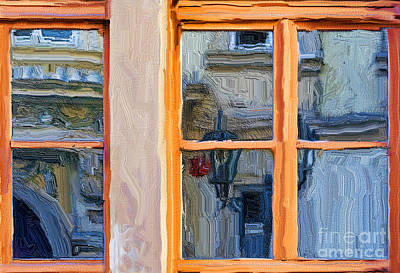 Prague Digital Art - Reflections In A Window Prague by Ted Guhl
