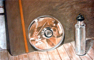 Glass Bottle Drawing - Reflections In Glass And Steel A Still Life by Mukta Gupta