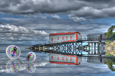 Reflections Lifeboat Houses And Smoke Cones Print by Steve Purnell