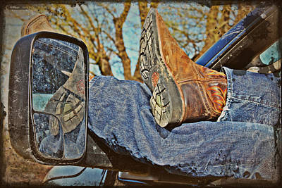 Reflections Of A Cowboy's Nap Print by KayeCee Spain