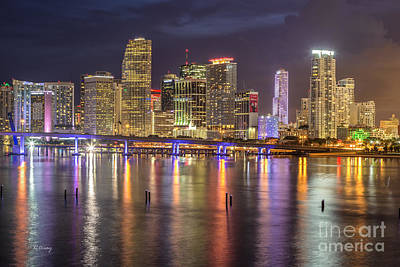 Reflections Of A Miami Skyline Print by Rene Triay Photography