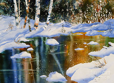 Water Filter Painting - Reflections Of Birch by Teresa Ascone