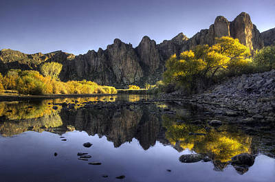 Lake Photograph - Reflections Of Fall Colors In The Salt River by Dave Dilli