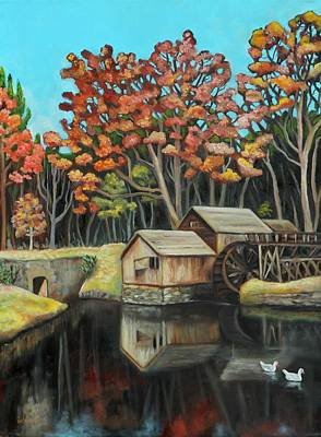 Grist Mill Painting - Reflections Of Mabry Mill by Eve  Wheeler