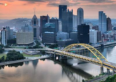Reflections Of The Pittsburgh Skyine Print by Adam Jewell