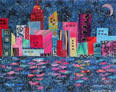 Fabric Mixed Media - Reflections by Susan Minier
