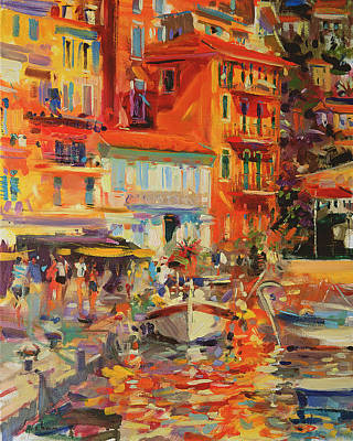 Midi Painting - Reflections - Villefranche by Peter Graham