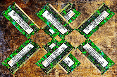 Data Mixed Media - Refresh My Memory - Computer Memory Cards - Electronics - Abstract by Andee Design