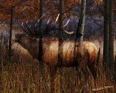 Regal Elk Print by Wishes and Whims Originals By Michelle Jensen