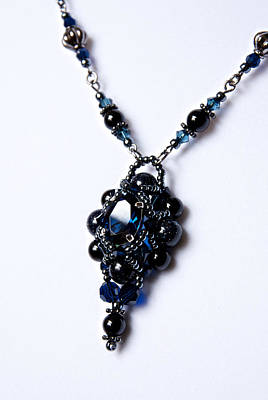 Regal Sapphire Pendant Necklace And Matching Earrings Set Original by WDM Gallery