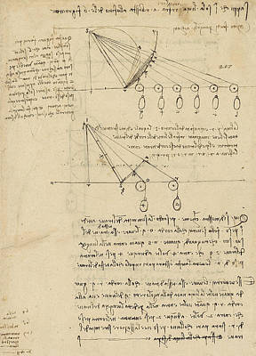 Da Vinci Reproductions Drawing - Register Of Milan Cathedral Weight And Study Of Relationship Between Position Of Beam by Leonardo Da Vinci