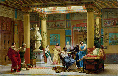 Performance Painting - Rehearsal Of The Fluteplayer And The Diomedes Wife In The Atrium Of The Pompeian House Of Prince by Gustave Clarence Rodolphe Boulanger