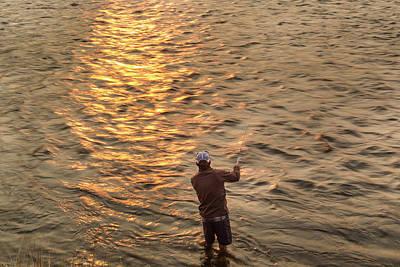 Reid Sabin Fly Fishing At Sunrise Print by Chuck Haney