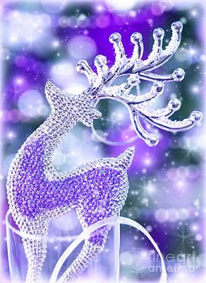 Reindeer Christmas Decoration Print by Anna Omelchenko