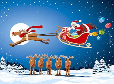 Holidays Drawing - Reindeer Santa Sleigh Christmas Stunt Show by Frank Ramspott