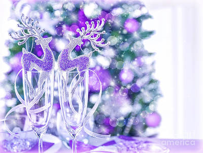 Reindeer Table Decoration Print by Anna Omelchenko