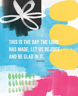 Designer Mixed Media - Rejoice And Be Glad- Contemporary Scripture Art by Linda Woods