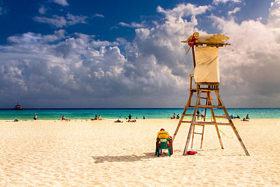 Relaxing On A Sunny Mexican Beach Print by Mark E Tisdale