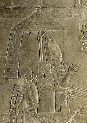 Slaves Photograph - Relief Depicting The Chariot Of King Assurbanipal 669-626 Bc Detail Of The Canopy, From The Palace by Assyrian