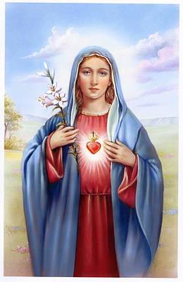 All Faa Painting - Religious Sacred Heart Of Virgin Mary by Patrick Hoenderkamp