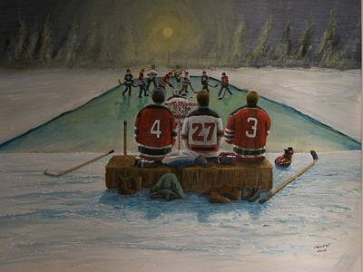 Shinny Hockey Painting - Rematch 2012 - Devils/kings by Ron  Genest