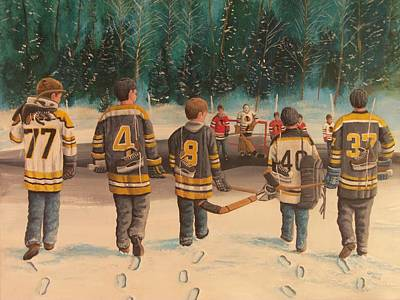 Snow Hockey Painting - Rematch - Stanley Cup 2013 by Ron  Genest