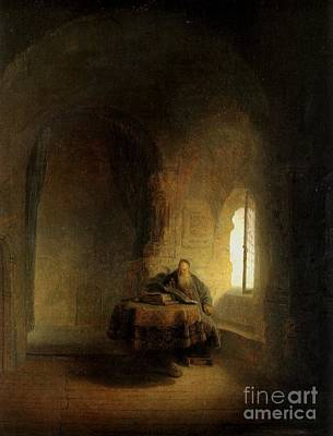 Rembrandt Man At Window Print by Rembrandt