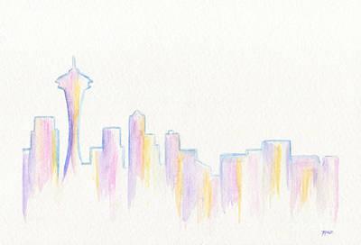 Roz Barron Abellera Painting - Remember Seattle by Roz Abellera Art