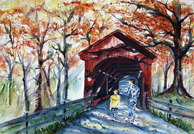 Covered Bridge Painting - Remember When by Brian Degnon