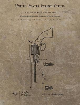 Red White And Blue Mixed Media - Remington Revolver Patent by Dan Sproul