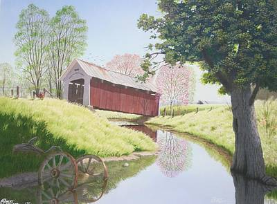 Covered Bridge Painting - Remnants Of An Era by C Robert Follett