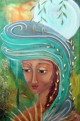 Sacred Feminine Moon Painting - Renewal by Wendy Hassel