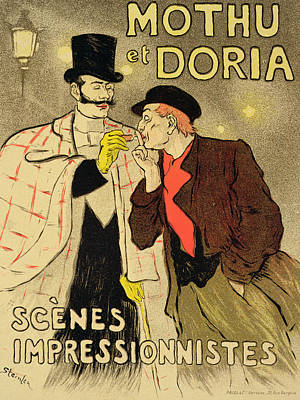 Cigarette Ads Painting - Reproduction Of A Poster Advertising Mothu And Doria In Impressionist Scenes by Theophile Alexandre Steinlen