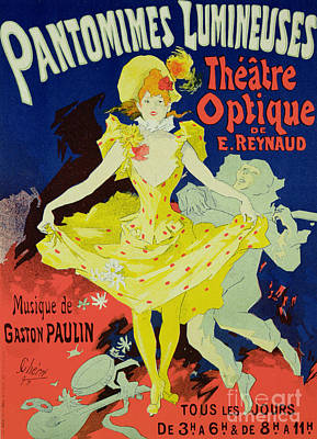 Graphic Drawing - Reproduction Of A Poster Advertising 'pantomimes Lumineuses' At The Musee Grevin by Jules Cheret