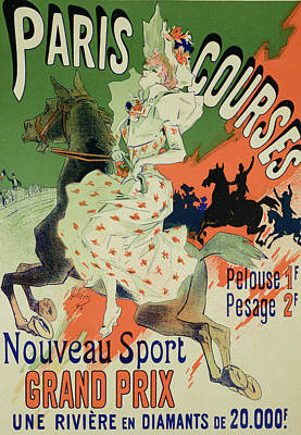 Graphic Drawing - Reproduction Of A Poster Advertising Paris Courses by Jules Cheret
