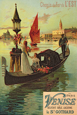 Graphic Drawing - Reproduction Of A Poster Advertising The Eastern Railway From Paris To Venice  by Hugo dAlesi