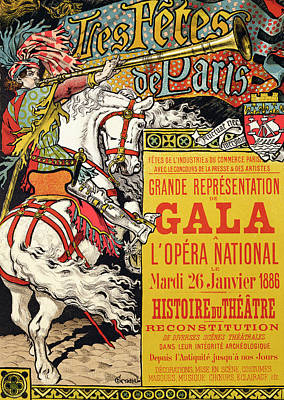 Graphic Drawing - Reproduction Of A Poster Advertising The Fetes De Paris by Eugene Grasset