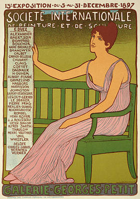 Graphic Drawing - Reproduction Of A Poster Advertising The Georges Petit Gallery by Maurice Realier Dumas