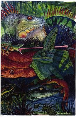 Newts Mixed Media - Reptile Collage by Kelsey  Albert