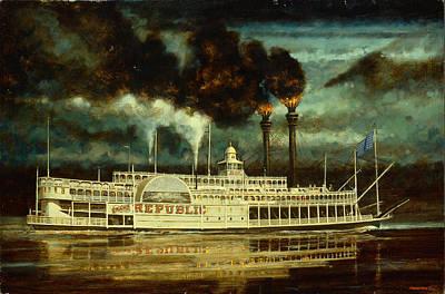 Grand Republic Steam Boat Print by Don  Langeneckert