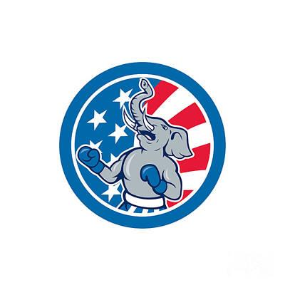 Boxer Digital Art - Republican Elephant Boxer Mascot Circle Cartoon by Aloysius Patrimonio