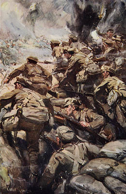 Repulsing A Frontal Attack With Rifle Print by Cyrus Cuneo