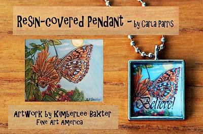 Resin Pendant With Butterfly And Sky Print by Carla Parris