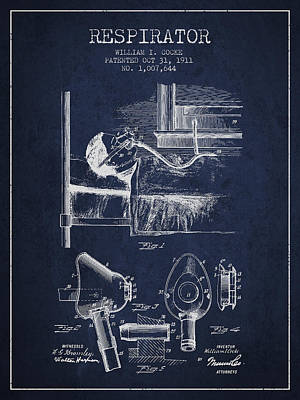 Respirator Patent From 1911 - Navy Blue Print by Aged Pixel