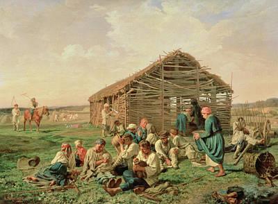 Rest During Haying Print by Aleksandr Ivanovich Morozov