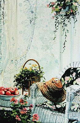 Wicker Chair Painting - Rest From Garden Chores by Hanne Lore Koehler