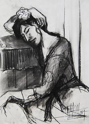 Reclining Drawing - Rest - Pia #8 - Figure Series by Mona Edulesco