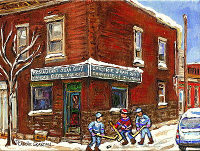 Montreal Streets Painting - Restaurant Epicerie Jean Guy Pointe St. Charles Montreal Art Verdun Winter Scenes Hockey Paintings   by Carole Spandau